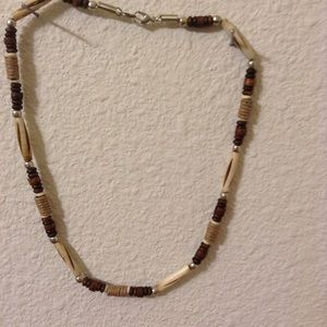 Handcrafted carved horn Hemp,wood beaded